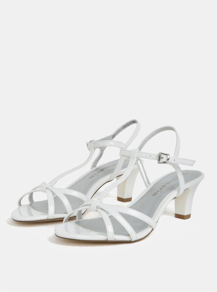 Bílé sandálky na nízkém podpatku Tamaris