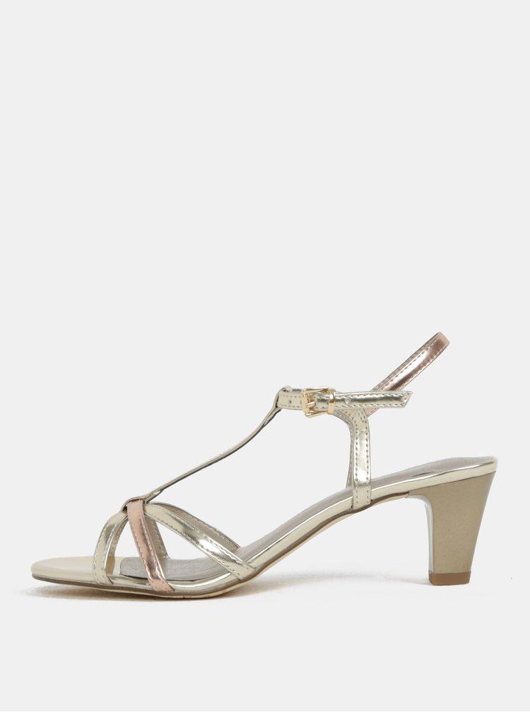 Sandálky ve zlaté barvě na nízkém podpatku Tamaris
