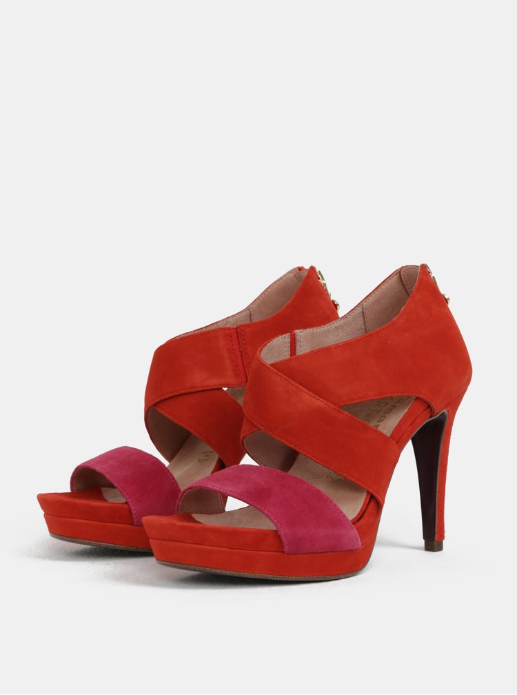 Sandale rosii din piele intoarsa Tamaris