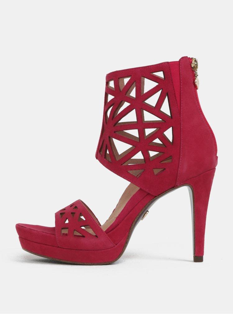 Sandale roz inchis din piele intoarsa cu toc inalt Tamaris