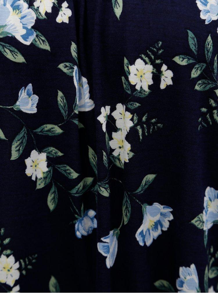 Tricou albastru inchis cu model floral si decolteu pe umeri Dorothy Perkins