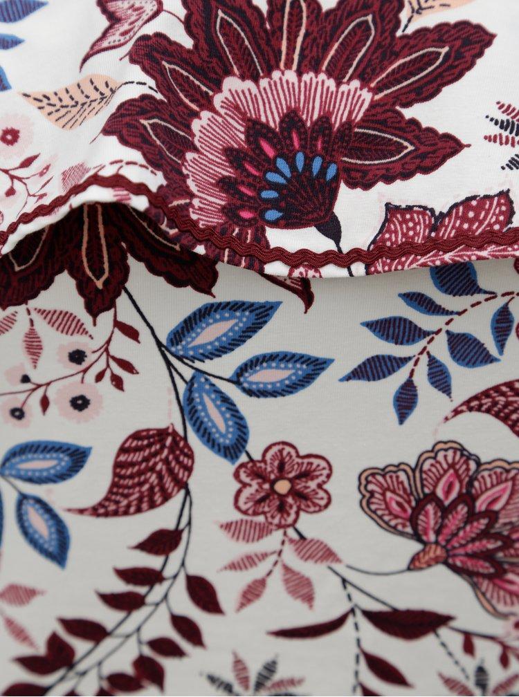 Krémové květované tričko s odhalenými rameny Dorothy Perkins