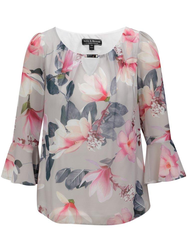 Bluza gri cu model floral si maneci 3/4 Billie & Blossom