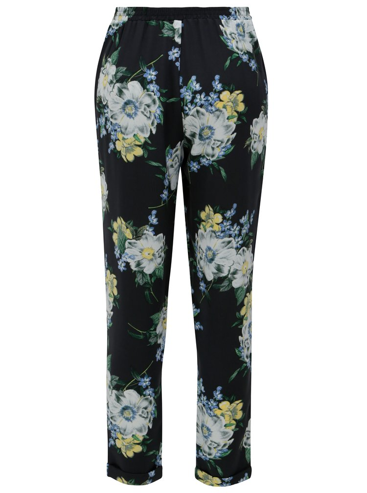 Tmavě modré květované kalhoty s vysokým pasem Dorothy Perkins