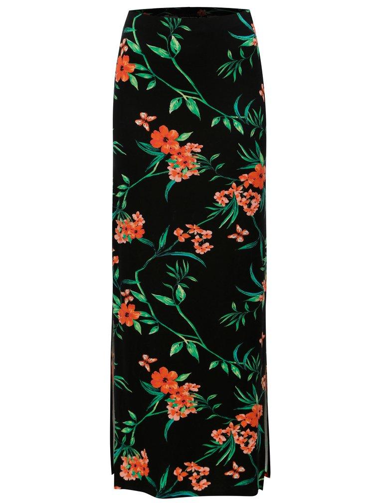Černá květovaná maxi sukně Dorothy Perkins