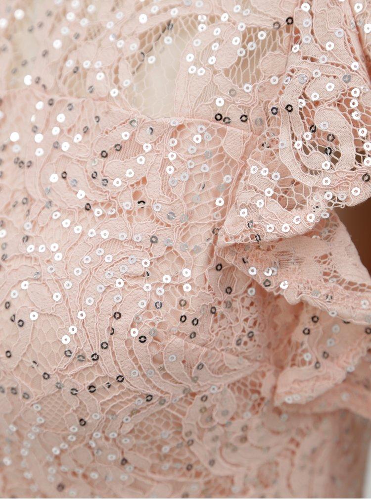 Rochie roz deschis cu dantela si paiete Dorothy Perkins Petite