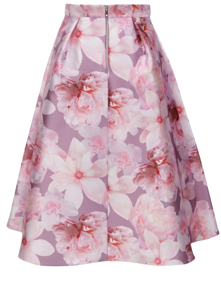 Růžová květovaná skládaná midi sukně Dorothy Perkins