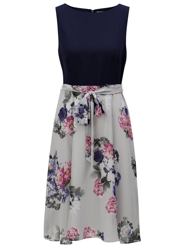 Modro-šedé květované šaty Billie & Blossom