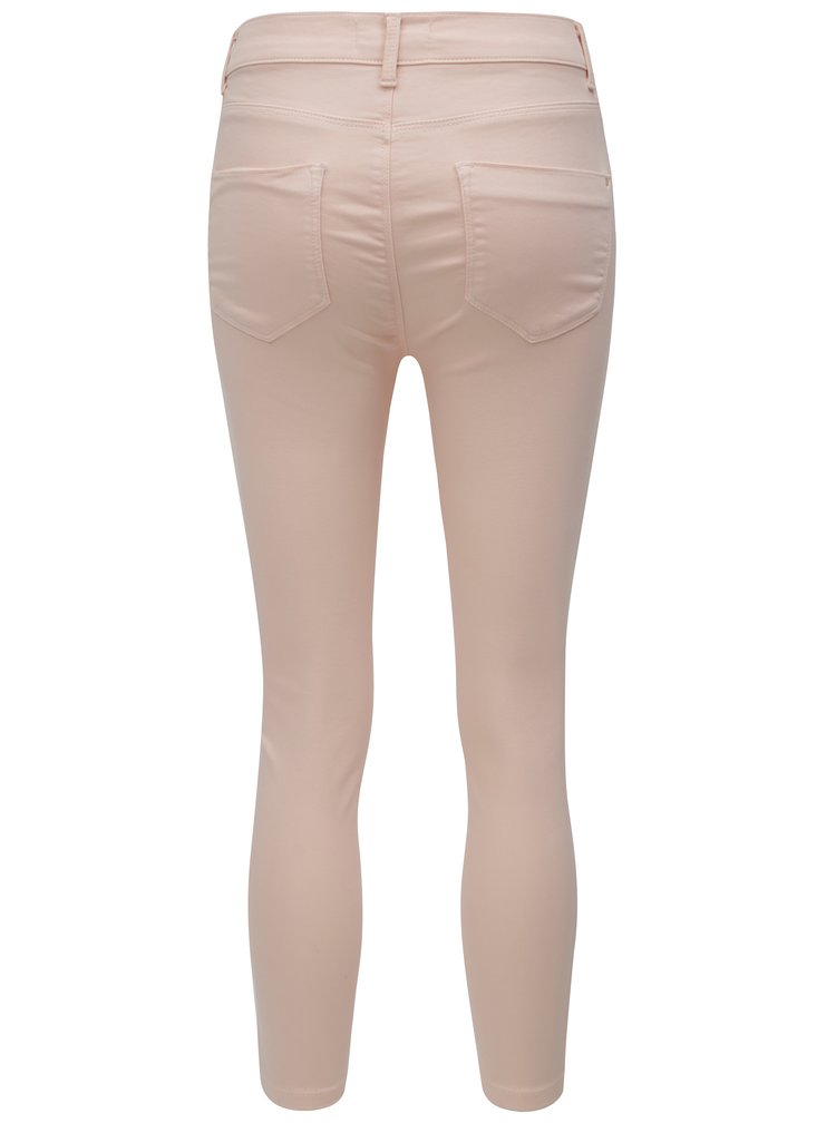 Světle růžové zkrácené slim džíny Dorothy Perkins Petite Frankie
