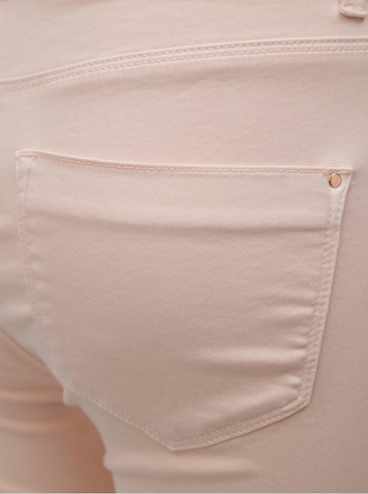 Světle růžové zkrácené slim džíny Dorothy Perkins Petite