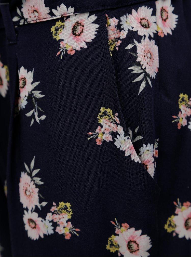 Tmavě modré zkrácené květované volné kalhoty Dorothy Perkins Petite