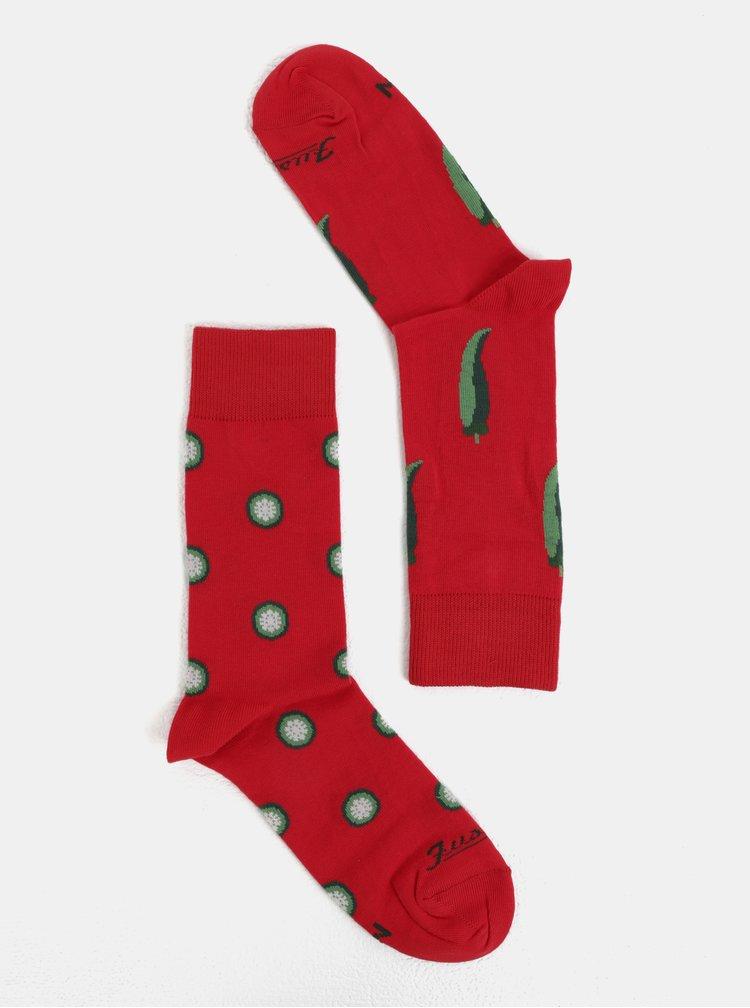 Červené unisex ponožky s motivem paprik Fusakle Chilli