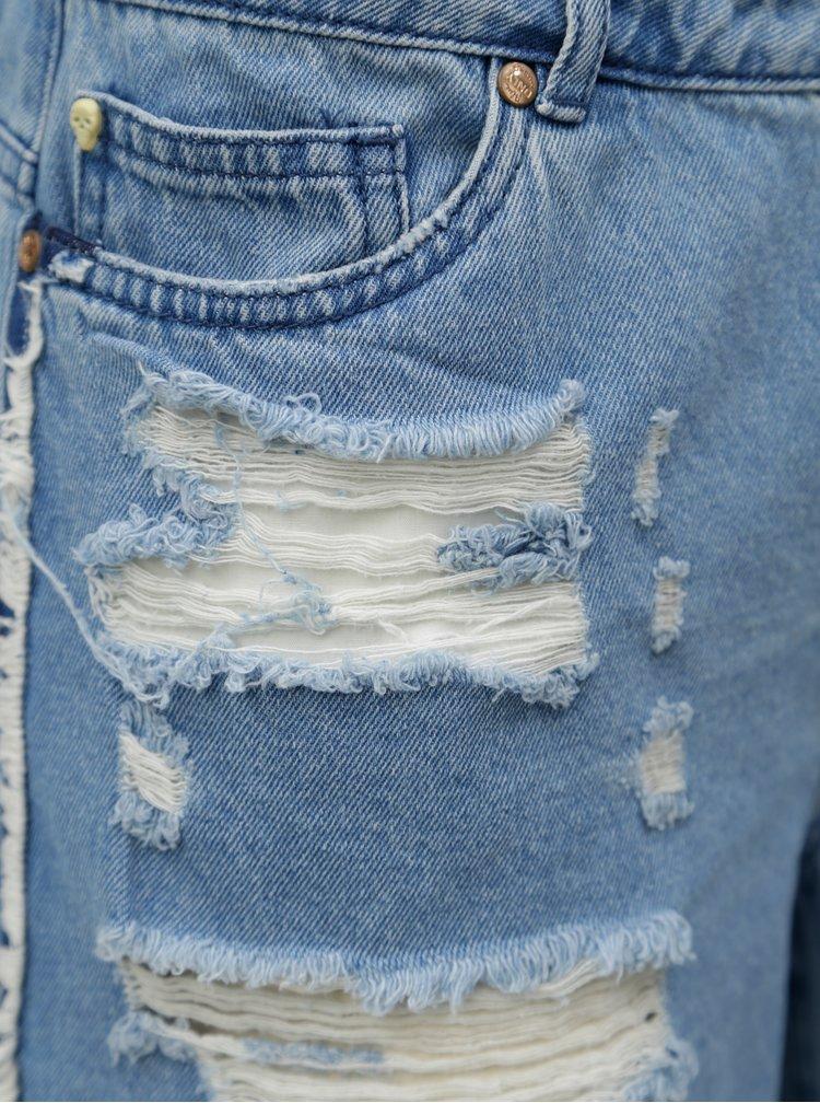 Modré džínové kraťasy s potrhaným efektem ONLY Pacy