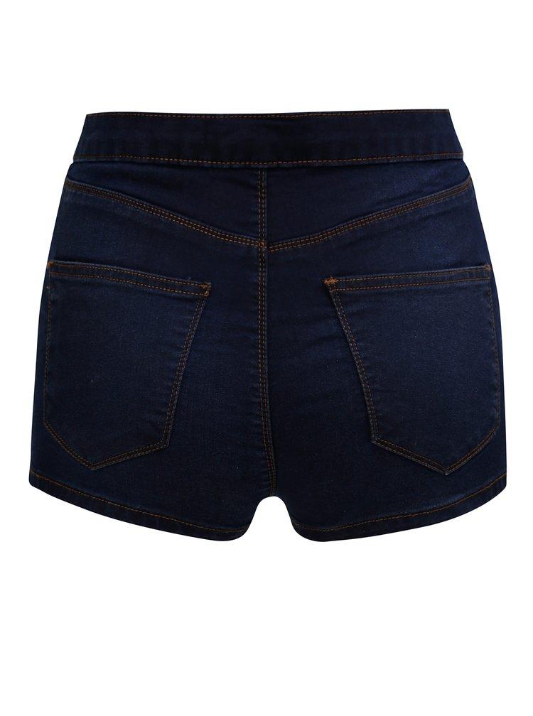 Tmavě modré džínové kraťasy s vysokým pasem Miss Selfridge