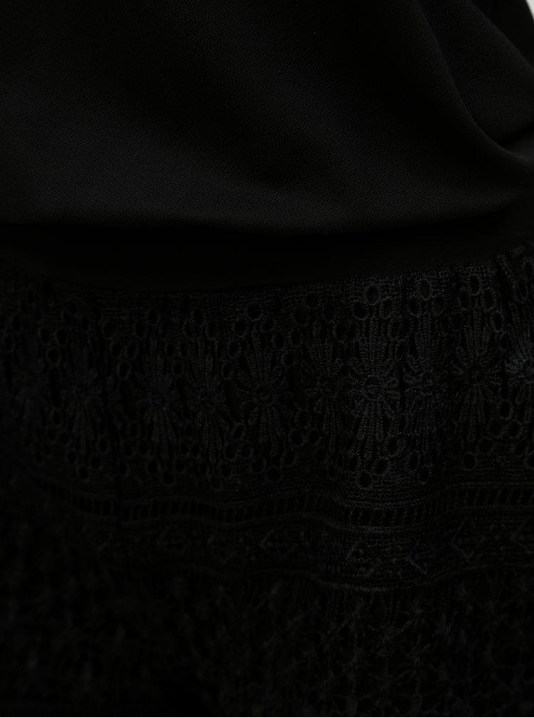 Salopeta neagra scurta cu pantaloni din dantela ONLY Salis