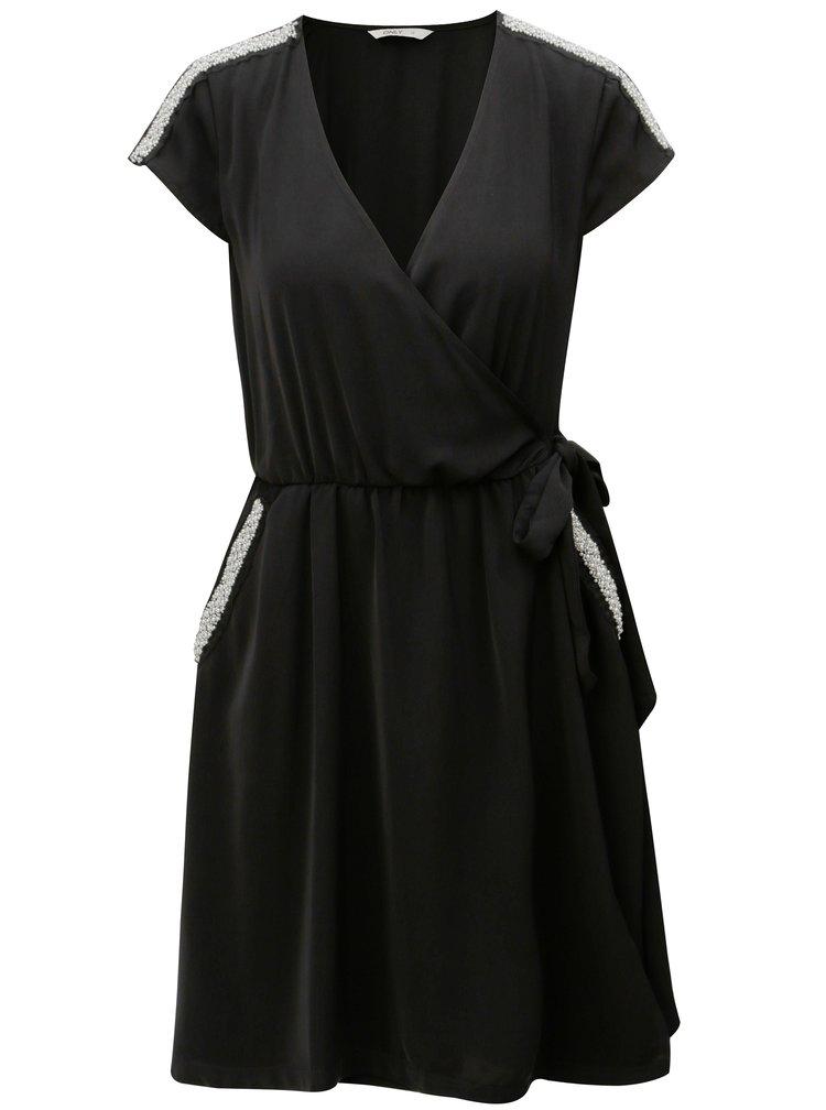 Čierne zavinovacie šaty s ozdobnou aplikáciou ONLY Scarlett
