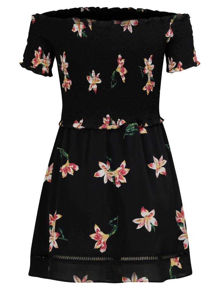 Černé květované šaty s odhalenými rameny Miss Selfridge Petites