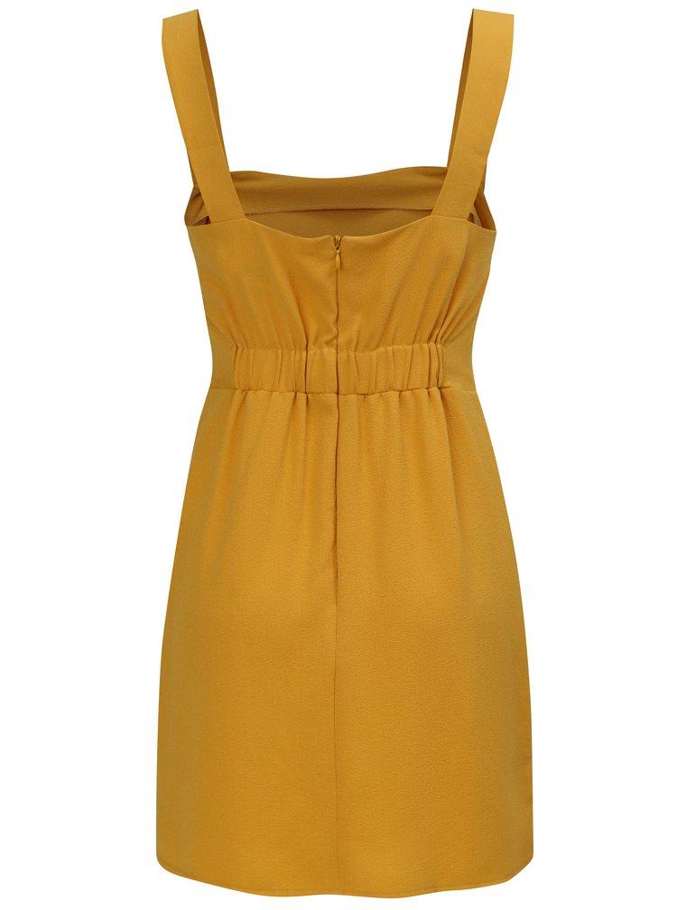 Hořčicové šaty na ramínka Miss Selfridge