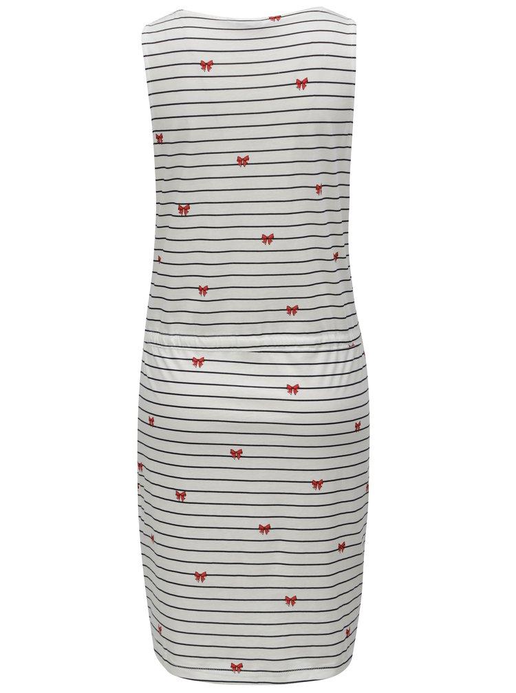 Bílé pruhované šaty s potiskem ONLY May