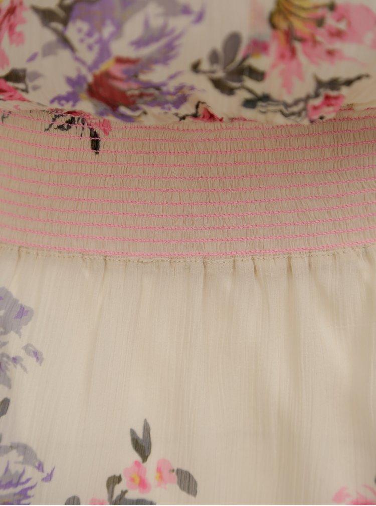 Krémové květované šaty s korálkovou výšivkou Miss Selfridge