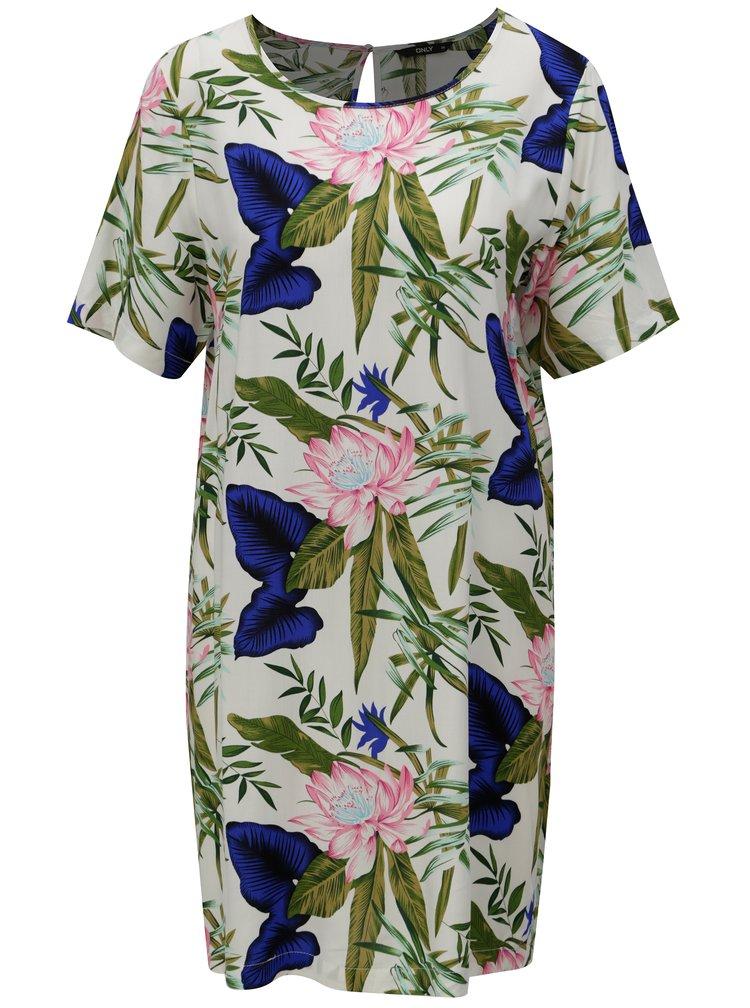 Zeleno-krémové květované šaty ONLY Nova