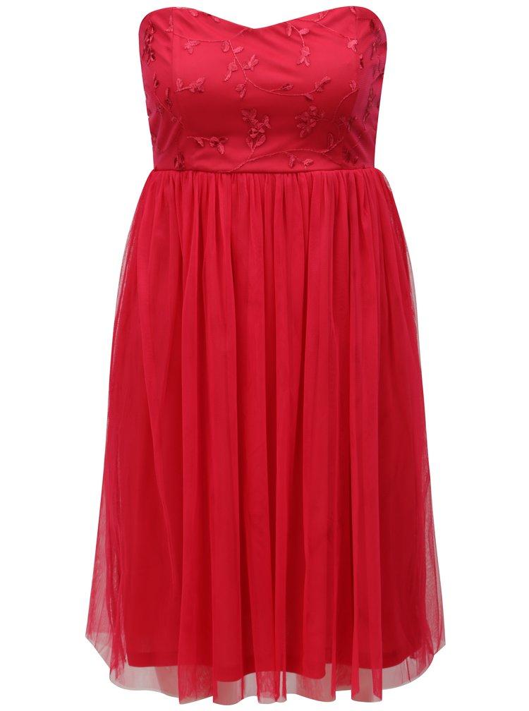 Tmavě růžové tylové šaty s průstřihem na zádech ONLY Juhlia