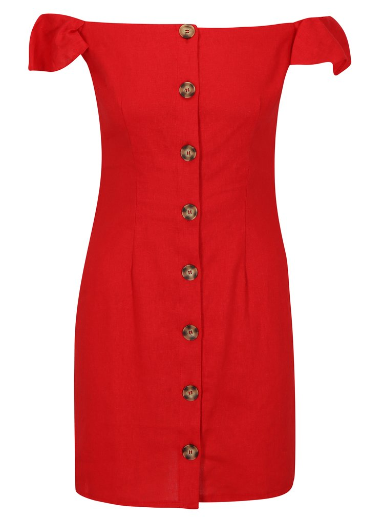 Červené lněné šaty s odhalenými rameny Miss Selfridge Button