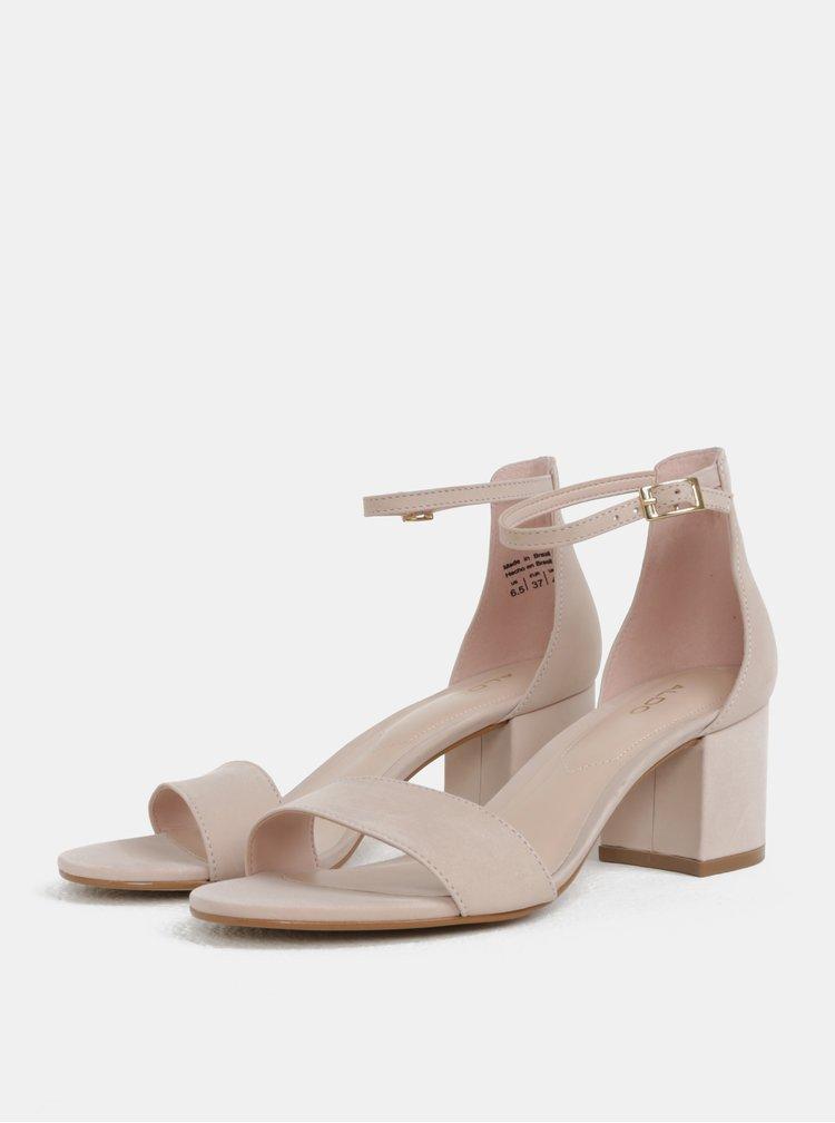 Světle růžové kožené sandálky ALDO Villarosa