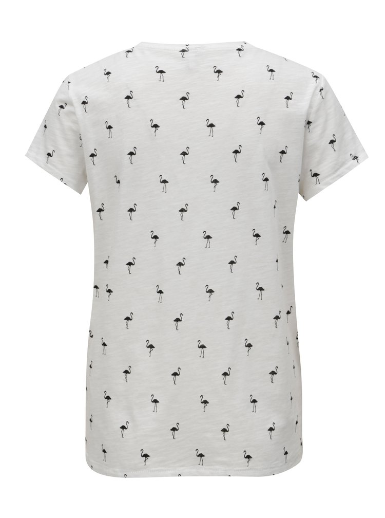 Černo-bílé tričko s potiskem plameňáků ONLY Bone