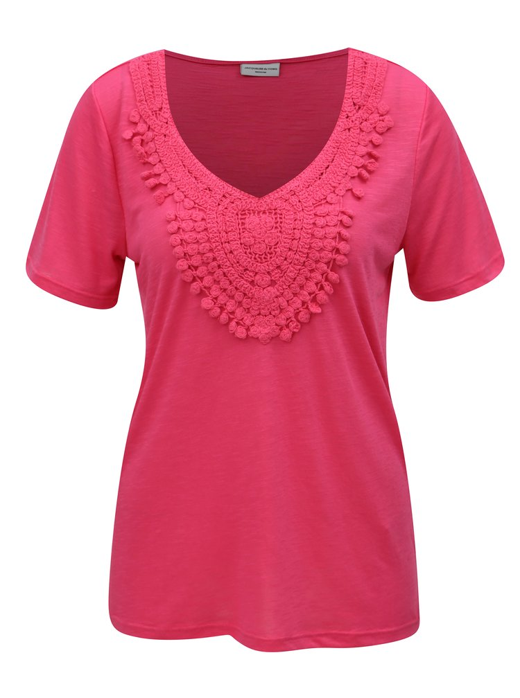 Růžové tričko s krajkovou nášivkou Jacqueline de Yong Dodo