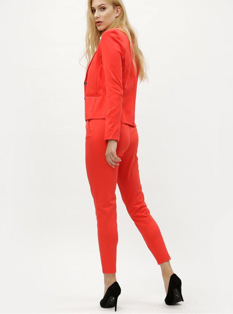 Pantaloni rosii cu talie elastica - ONLY Poptrash