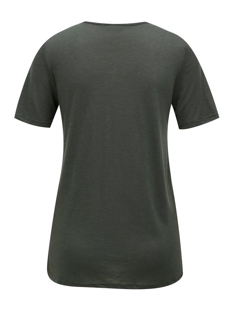 Zelené tričko s krajkovou nášivkou Jacqueline de Yong Dodo