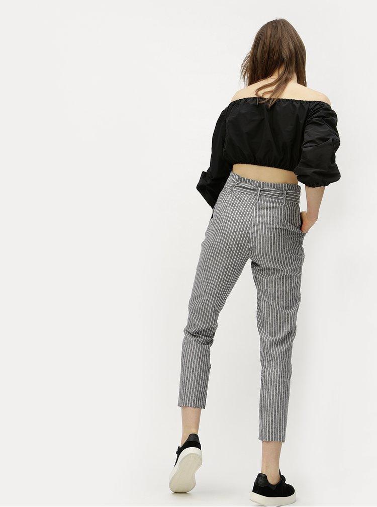 Šedé pruhované zkrácené kalhoty s vysokým pasem Miss Selfridge