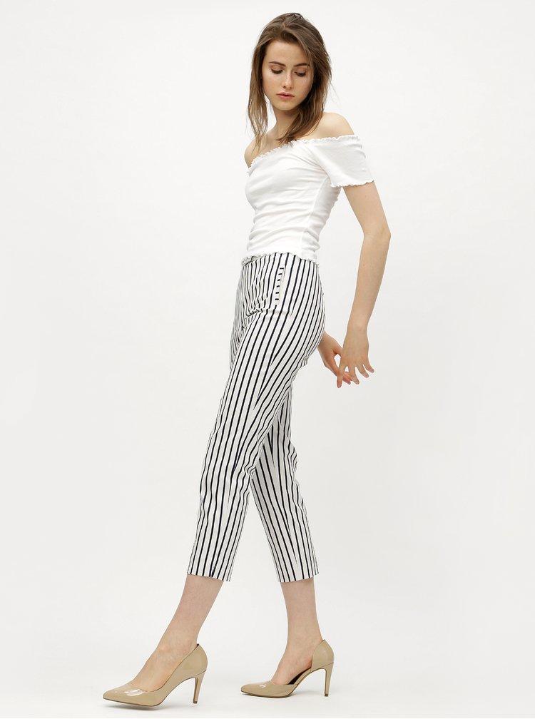 Modro-bílé kostýmové pruhované zkrácené kalhoty s vysokým pasem Miss Selfridge