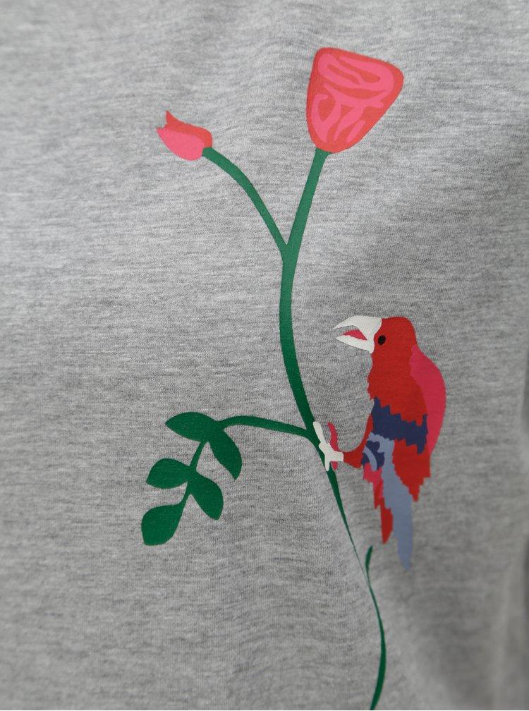 Šedé tričko s potiskem Jacqueline de Yong Nixon