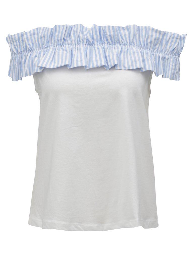 Modro-bílá halenka s odhalenými rameny ONLY Pippe