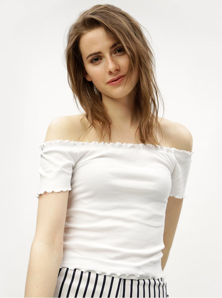Bílý zkrácený top s odhalenými rameny Miss Selfridge
