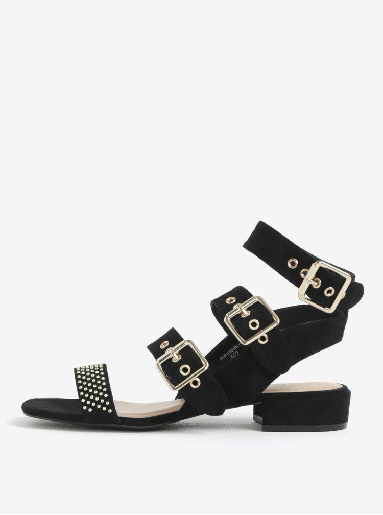 Sandale negre cu aspect piele intoarsa cu detalii aurii Miss Selfridge