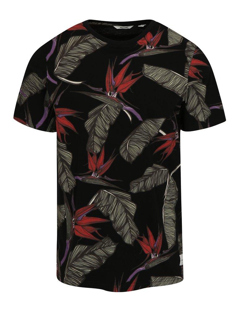Černé vzorované tričko ONLY & SONS Chris
