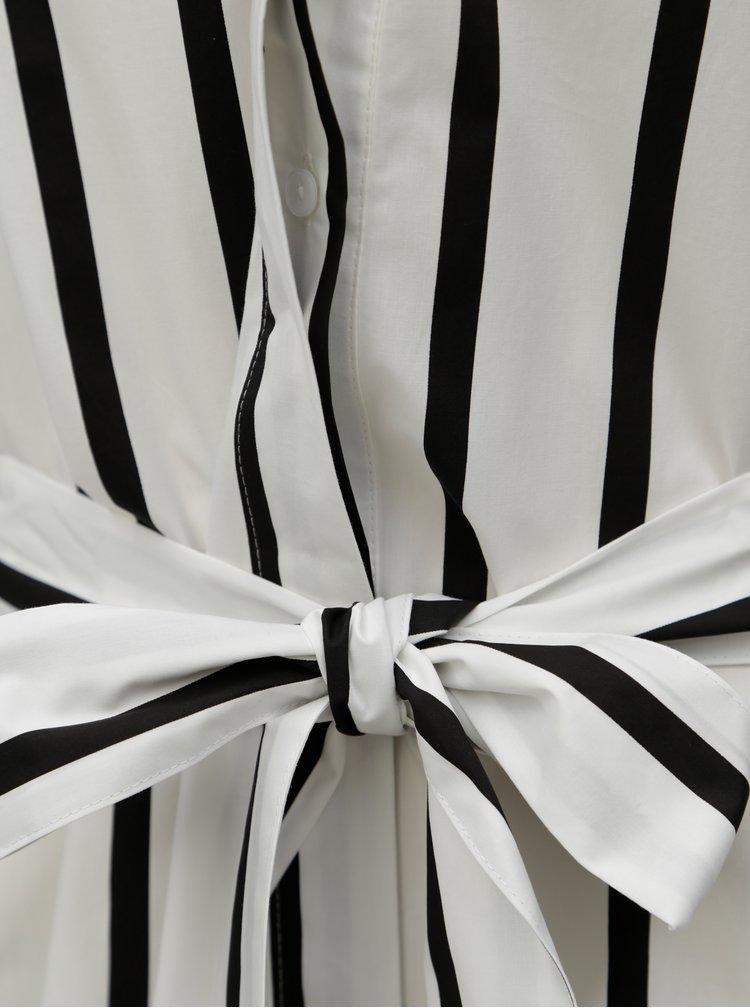 Černo-bílé pruhované košilové midišaty Selected Femme Nadine