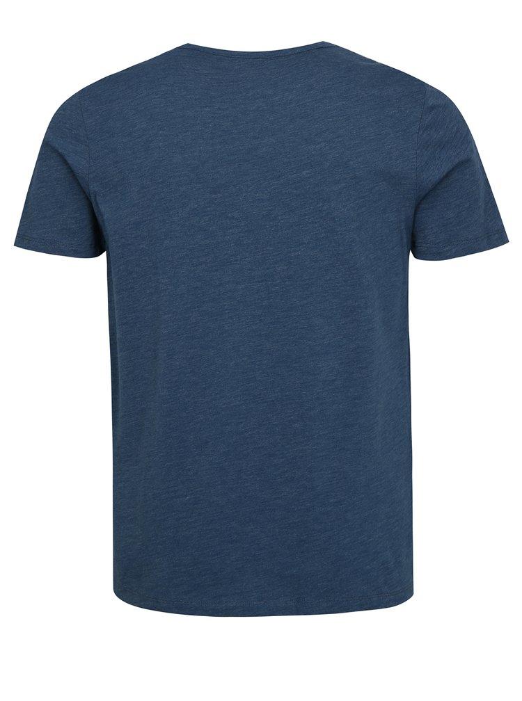 Modré žíhané tričko s potiskem Jack & Jones Joe