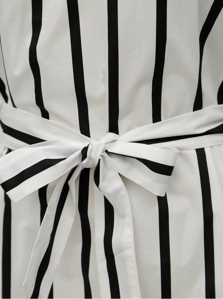 Bílé pruhované šaty s odhalenými rameny Selected Femme Nadine