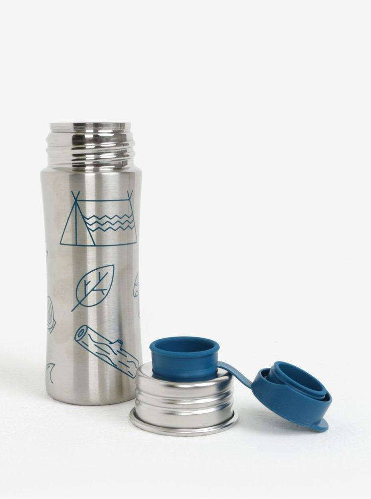Nerezová lahev na pití s detaily v modré barvě Affenzahn 330 ml