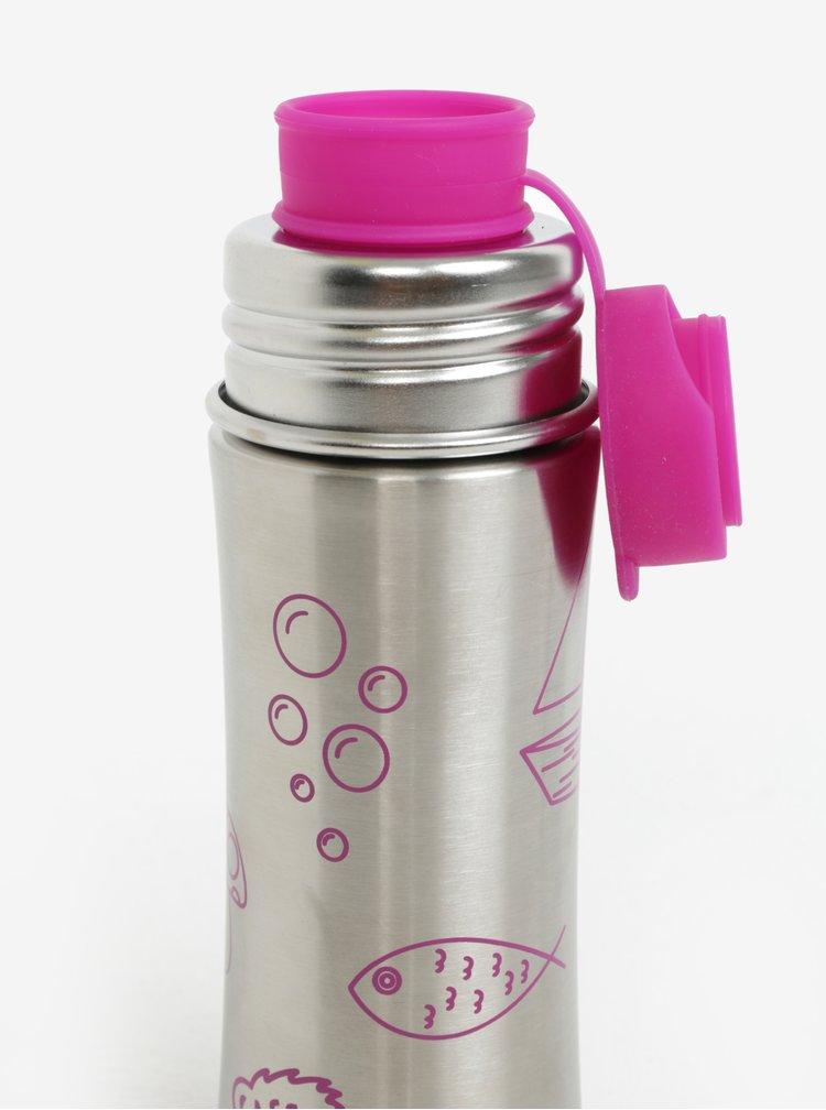 Nerezová lahev na pití s detaily v růžové barvě Affenzahn 330 ml