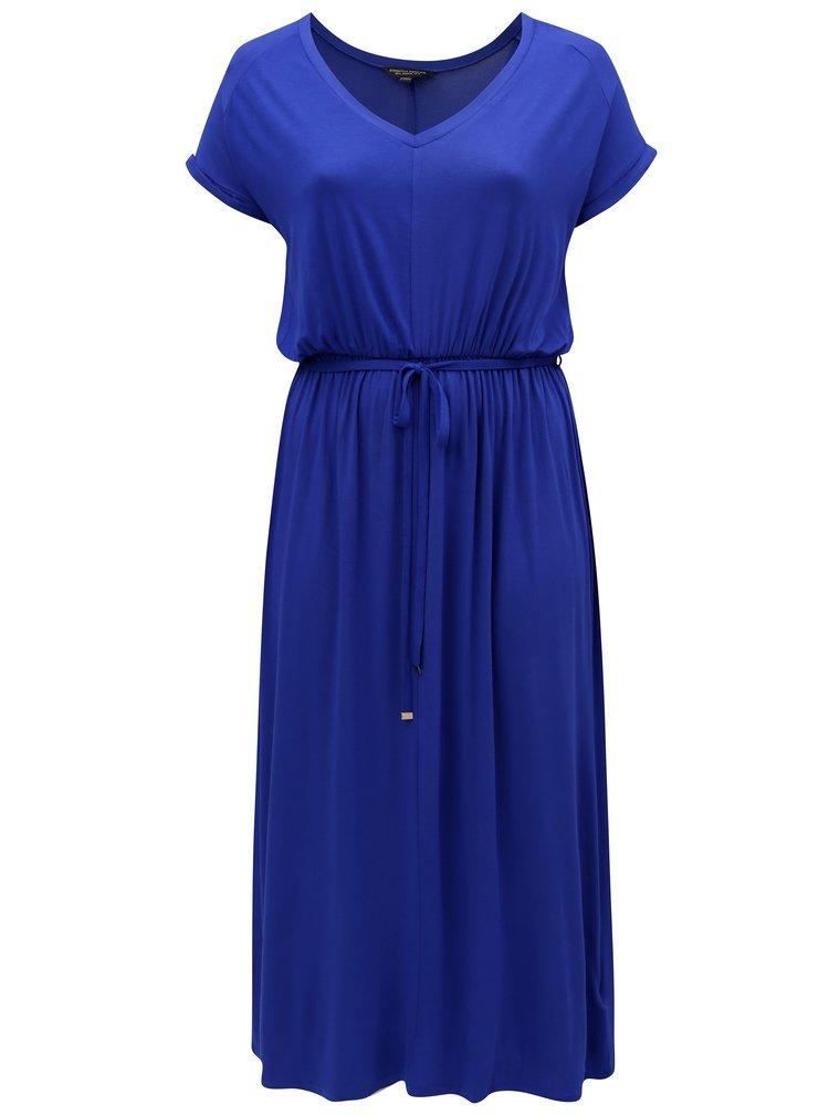 Tmavě modré maxišaty s gumou v pase Dorothy Perkins Curve