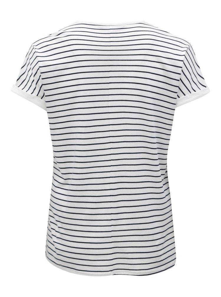 Modro-bílé pruhované tričko s korálky Dorothy Perkins Curve