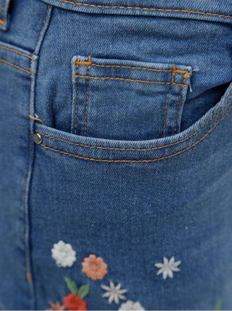 Modré regular kraťasy s výšivkou květin Dorothy Perkins Ditsy