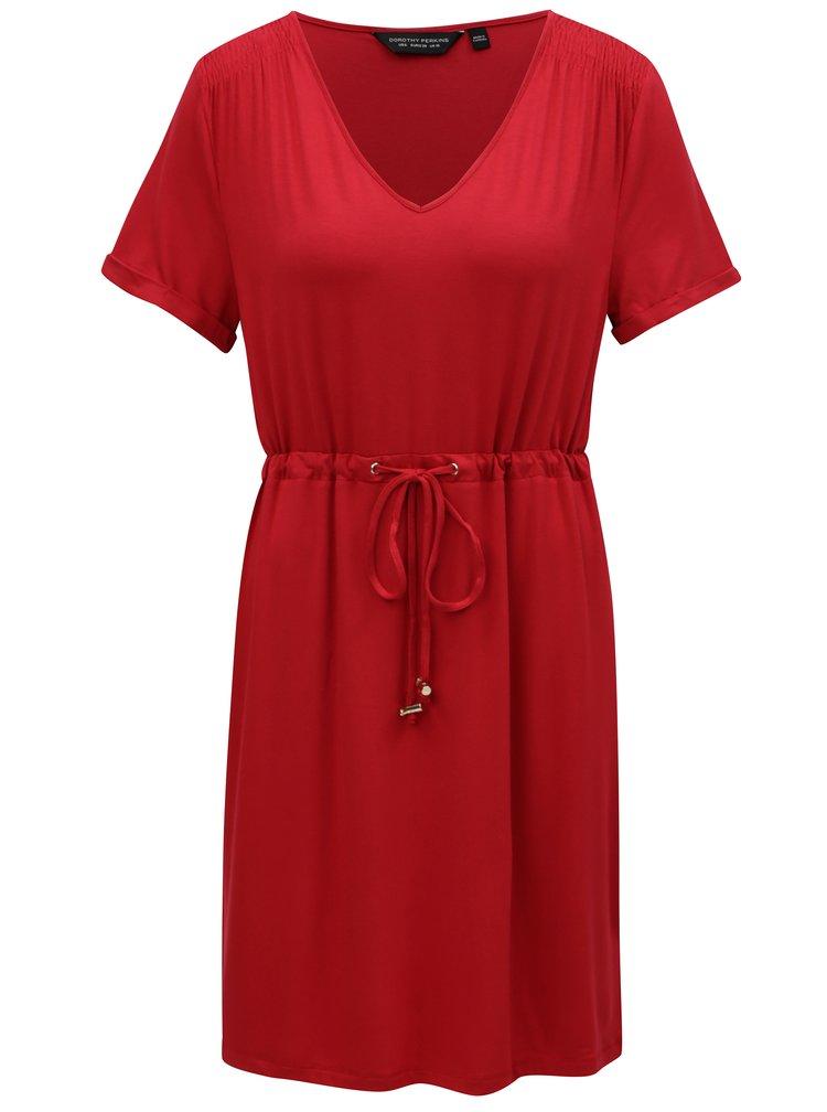 Červené šaty se stahováním v pase Dorothy Perkins