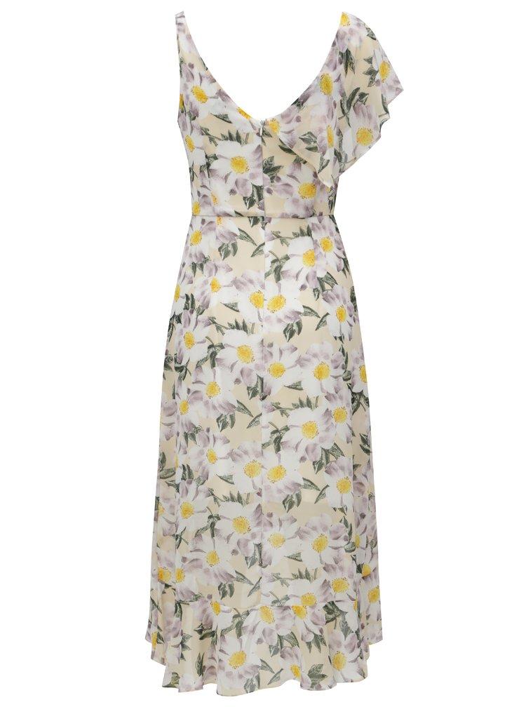 Bílo-žluté květované midi šaty s volány Dorothy Perkins