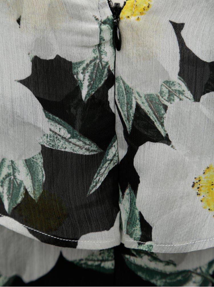 Rochie maxi alb-negru cu model floral Dorothy Perkins